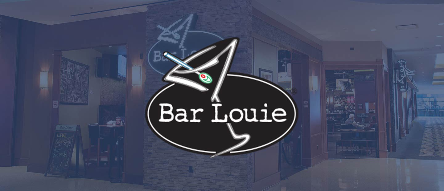 Background image of Bar Louie with Bar Louie logo over the top