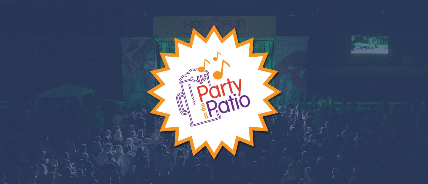 Background image of Party on the Patio with Party on the Patio logo over the top