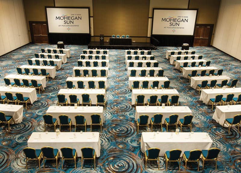 view of the meeting room set up for a convention